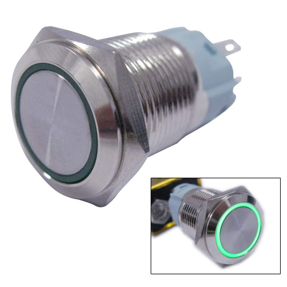 19mm Mounting Hole Momentary Push Button Switch 1NO 1NC SPDT ON//Off Silver Waterproof Stainless Steel Shell with 12V Red LED Lamp Ring for car Modification Switch M-19-O-T-R Twidec