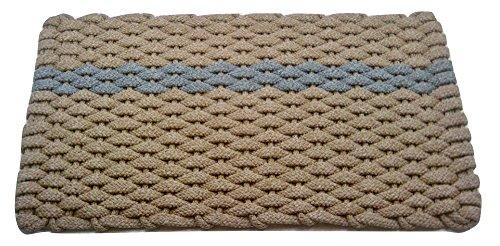 Rockport Rope Doormats 2034390 Indoor & Outdoor Doormats, 20'' x 34'', Tan with offset Gray Stripe by Rockport Rope Doormats
