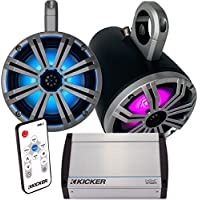 Kicker Marine 8 Black Tower System, 8 Silver Kicker KM Coaxial Speakers, Kicker 40KXM400.4 400 Watt Amplifier, & 41KML