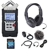 Zoom H4n Pro 4-Channel Handy Recorder Bundle with Accessory Pack For Zoom H4nSP, Stereo Headphones and 16GB SD Card