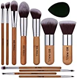 BS-MALL Premium 11 PCS Synthetic Bamboo Blush Foundation Eyeshadow Eyeliner Bronzer Makeup Brushes Sets Plus 1 Piece Makeup Sponges