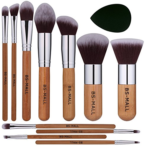 (BS-MALL Premium 11 PCS Synthetic Bamboo Blush Foundation Eyeshadow Eyeliner Bronzer Makeup Brushes Sets Plus 1 Piece Makeup Sponges )
