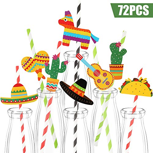 Straw Mexican - Haojiake 72pcs Fiesta Paper Straw Decor, Let's Fiesta Mexican Beach Summer Party Cinco De Mayo Drinking Decorative Straws