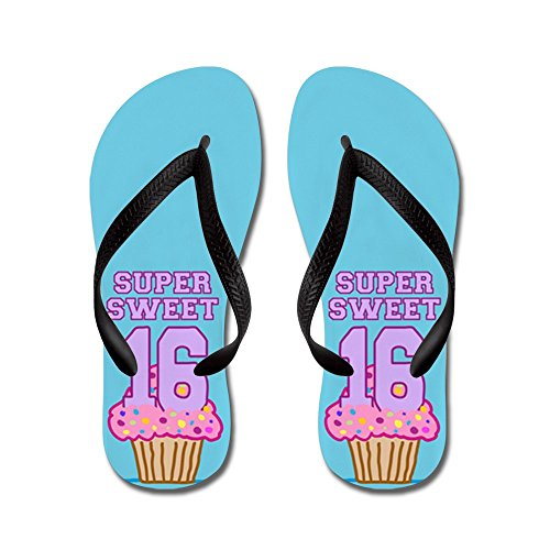 Cafepress Super Sweet 16 - Infradito, Sandali Infradito Divertenti, Sandali Da Spiaggia Neri