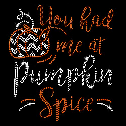 Halloween Rhinestone Iron Transfers (Pumpkin Spice Thanksgiving Iron On Rhinestone and Crystals and Rhinestuds T-Shirt Transfer by JCS)