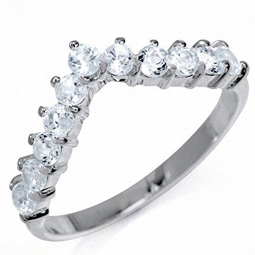 Genuine White Topaz 925 Sterling Silver V-Shape Stack/Stackable Ring Size -