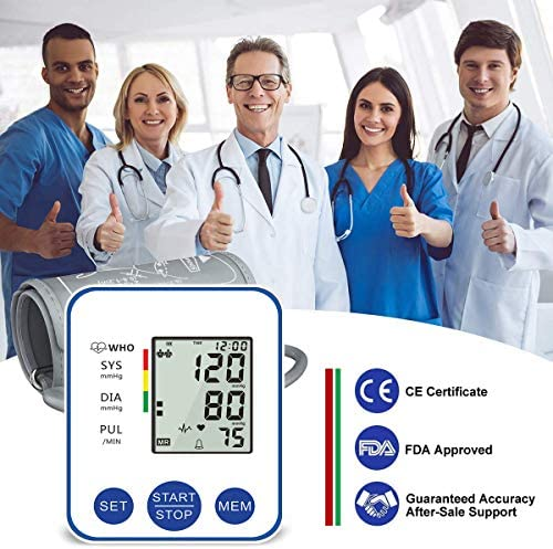 Blood Pressure Monitor, Upper Arm Digital Blood Pressure Monitors Cuff BP Machine Automatic Heart Rate Pulse Monitor with LCD Large Screen Display Home Use Care Device 51d0lRXt62L