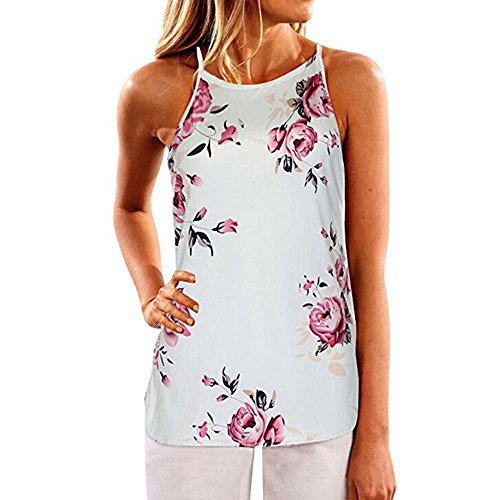 SVALIY Women High Neck Floral Sleeveless Casual Tops Tanks Camis T-shirt Blouse (Small, - Tank Flower