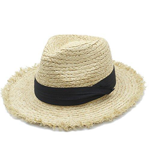 CL Summer Panama Hat Queen Sunbonnet Beach Sunhat Fedora Cap 100% Raffia Straw Women Men Wide Brim Sun Hat For Elegant Lady (Color : 1, Size : 58CM) -