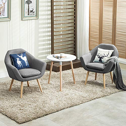 Magshion 2 Pcs Elegant Upholstered Fabric Club Chair Accent Chair W/ 2 Free Pillows (Grey)