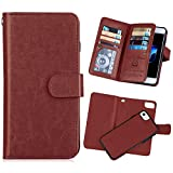 iPhone 7(4.7'') Wallet Case,iPhone 8 Wallet Case [KAIFX] PU Leather Folio Flip 9 Credit Card Slots Cash Holder Magnetic Flap Detachable Vintage Book Style Case for iPhone 7/8 (Brown)