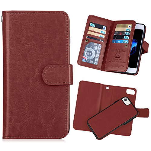 iPhone 7(4.7'') Wallet Case,iPhone 8 Wallet Case [KAIFX] PU Leather Folio Flip 9 Credit Card Slots Cash Holder Magnetic Flap Detachable Vintage Book Style Case for iPhone 7/8 (Brown) by BRG