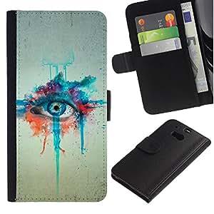 All Phone Most Case / Oferta Especial Cáscara Funda de cuero Monedero Cubierta de proteccion Caso / Wallet Case for HTC One M8 // Watercolor Painting Eye Art Blue Drawing