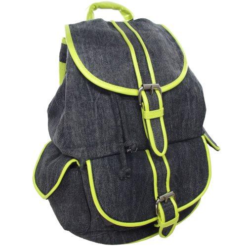 Anna Smith (Por LYDC) Destaque tela vaquera Mochila / Soltero bolsillo de moda para mujer Bolsos mochila (Tela Vaquera Verde) Tela Vaquera Verde