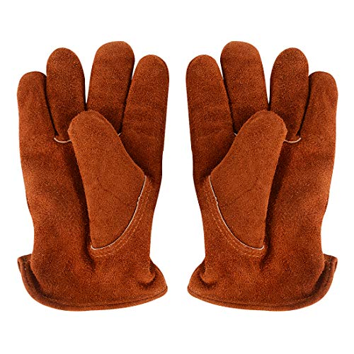 RTWAY Work Gloves, Cowhide Leather Winter Gloves Lined with Warm Imitation Lambswool Windproof Wear-Resistant Workgloves for Men Women, 1 Pair Size -