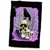 3dRose WhiteOaks Halloween Skulls - Three Skulls and Raven Skull with Raven - 15x22 Hand Towel (twl_27281_1)
