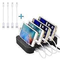 NexGadget Stazione Caricabatterie a 4 Porte con 4 Cavi per Smartphone (2 Micro USB e 2 Lightning) Organizzatore di Dispositivi