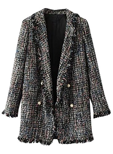 4 You Tweed Coat (Futurino Women's Double Breasted Pearl Buttons Fringe Tweed Jacket Coat Blazer)