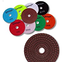 "KENT Premium Quality 4"" WET Diamond Polishing 4mm Thicker Pads, For Granite & Marble, Velcro Style"