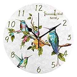 MOYYO Modern Wall Clock Decorative Round Wall Clock Humming Birds Creative Clock for Living Room Bedroom Office Shop Kitchen