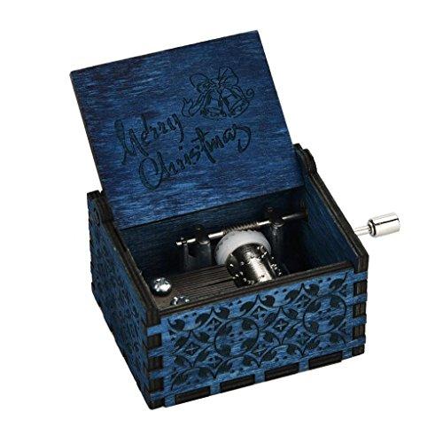 Bibite Mini Music Box Engraved Wooden Music Box Interesting Xmas Gifts Toys (Dark Blue)