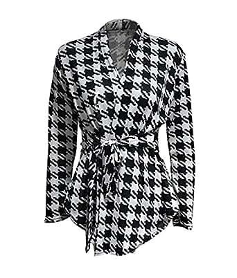 Korean Womens Cardigan ❤Luca ❤ Houndstooth Pattern Thin Coat Jacket Outwear (M, Black)