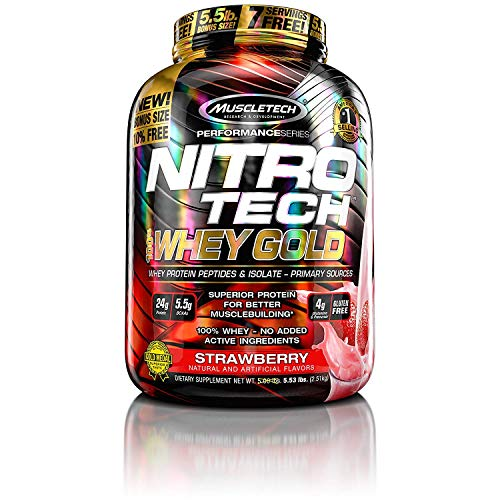 MuscleTech NitroTech Whey Gold, 100% Whey Protein Powder, Whey Isolate and Whey Peptides, Strawberry, 88.48 Ounce