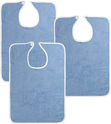 Utopia Towels 3 Pack Premium Quality Adult Terry Cloth Bibs, Blue, 100% Soft Cotton Reusable and Washable Bibs
