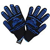 932°F Extreme Heat Resistant BBQ Oven Safety Gloves - EN407 Certified, Thick but Light Weight for Kitchen Potholder and Outdoors-1 pair (2 pieces set) (Black)