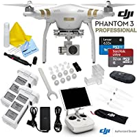 DJI Phantom 3 Professional Quadcopter Drone With CS Starters Package: Includes Spare Intelligent Flight Battery, SanDisk 32GB MicroSD Memory Card, Reader, Cleaning Kit & CS Microfiber Cleaning Cloth