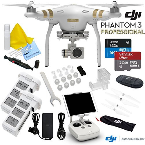DJI Phantom 3 Professional Quadcopter Drone With CS Starters Package: Includes Spare Intelligent Flight Battery, SanDisk 32GB MicroSD Memory Card, Reader, Cleaning Kit & CS Microfiber Cleaning Cloth by Circuit Street