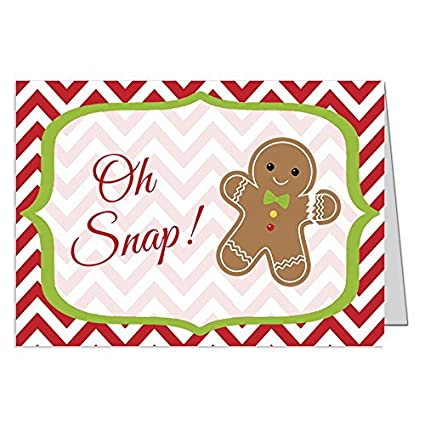 funny christmas cards oh snap gingerbread man whimsical holiday season card red