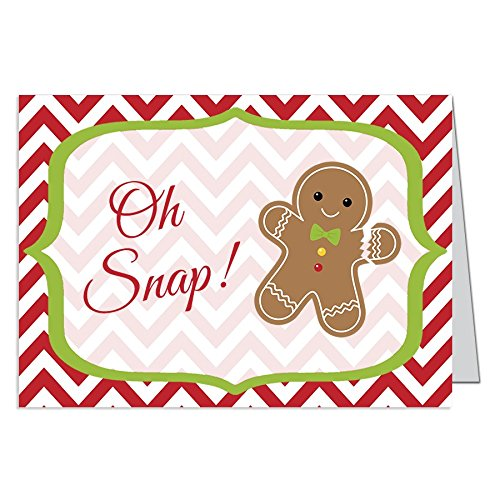 (Funny, Christmas Cards, Oh Snap Gingerbread Man, Whimsical Holiday Season Card, Red, Green, White, Set of 24 Printed, Folding Greeting Cards, with Envelopes,, Chevron Stripes)