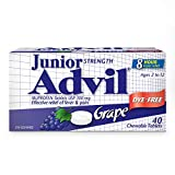 Children's Advil Strength Advil Chewable Dye Free Ibuprofen Pain Fever Reliever, Grape, 40 Count