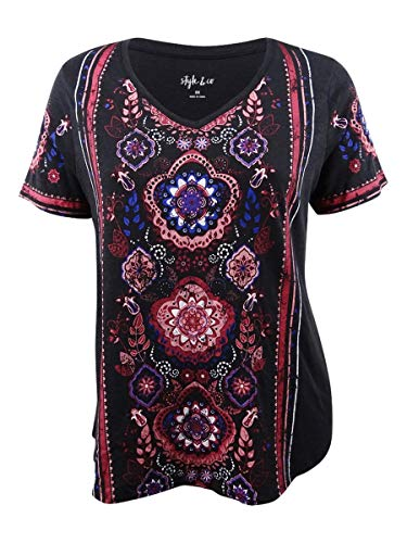 Style & Co. Womens Plus Graphic Short Sleeves T-Shirt Black 2X from Style & Co.