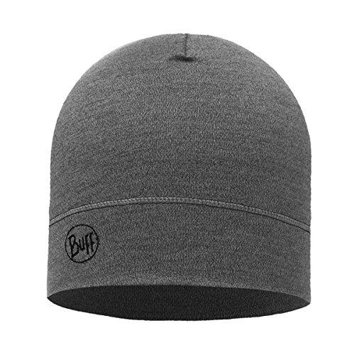 Buff Midweight Merino Wool Hat, Light Grey Melange, One Size