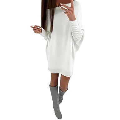 301afb03c436 Robe Pull à Col Roulé et Manches Chauve-Souris Robe Maille Hiver OverDose  Casual Loose Pullover  Amazon.fr  Vêtements et accessoires