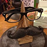 """WhopperIndia Easter Day Gift, 6"""" Hand Carved Wooden Eyeglass Spectacle Holder with an amusing Mustache, Sunglass Holder for Home and Office Desk Decor"""
