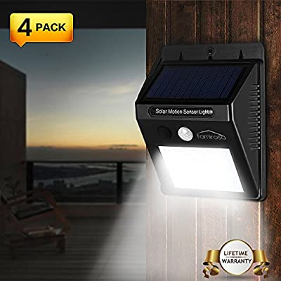 Solar Motion Sensor Light Wireless Outdoor Security Night Light Powered LED Security Waterproof Wall Spotlights LED for Patio, Landscape, Flood, Yard, Pool, Garage Door - 4 Pack