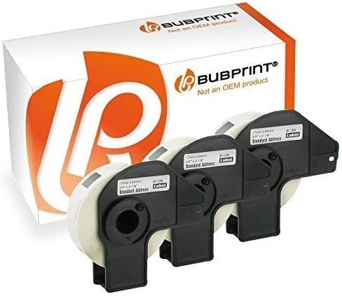 Bubprint 3x Ruote Etichette compatibile per Brother DK-11204#1204 17 x 54mm