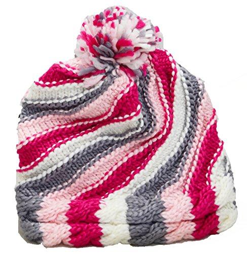 Fourever Funky Bright Pink Striped & hearts Oversized Crochet Unisex Pom Beanie (Pink Swirl) (Acrylic Crochet Heart)