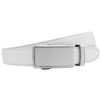 0f6f2cc9c3137 Schmaler Damen Raster Automatik Gürtel Weiß Automatic Belt white G335   Amazon.de  Bekleidung