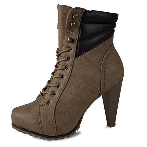 Schuhtraum Damen Stiefeletten High Heels Stiefel Boots Plateau ST280 Khaki