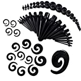 BodyJ4You 54 Pieces Gauges Kit Black Spiral Tapers and Straight Taper with Plugs 14G-00G Stretching Kit - 27 Pairs