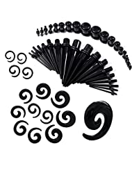 54 Pieces Gauges Kit Black Spiral Tapers and Straight Taper with Plugs 14G-00G Stretching Kit - 27 Pairs