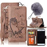 iPhone 5S Wallet Case,Vandot Luxury Vintage Emboss Flower Love Heart Case PU Leather Flip Folio Stand Magnetic Cover Skin For Apple iPhone 5 5S SE with Wrist Strap+Fashion Pompon Ball Pendent-Brown