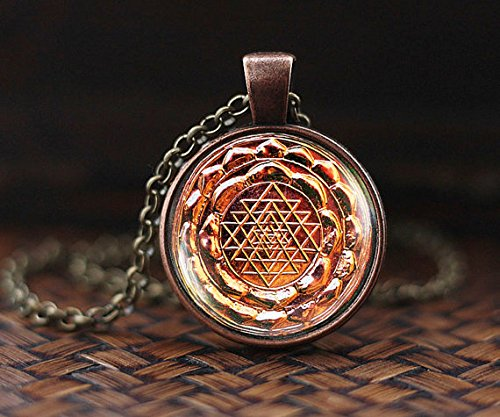 Vintage Sri yantra Necklace, ancient mandala antique Sri yantra mandala pendant, Spiritual Yoga Jewelry gift