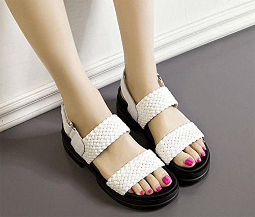 Zapatos de verano de estudiantes planas sandalias de cuero sandalias de las mujeres tejen White
