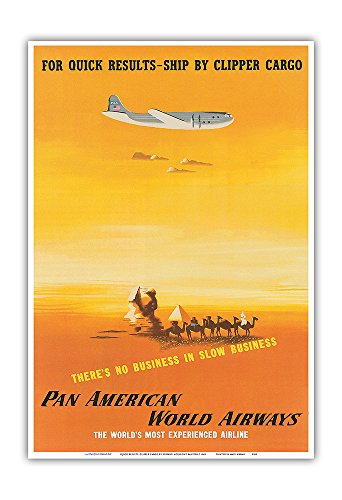 (For Quick Results, Ship By Clipper Cargo - Pan American World Airways - Vintage Airline Travel Poster by Edward McKnight Kauffer c.1949 - Master Art Print - 13in x)