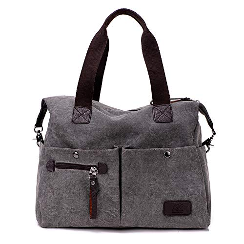 KARRESLY Women' Canvas Shoulder Bag Top Handle Tote Multi-pocket Handbag Purse(Gray1) ()